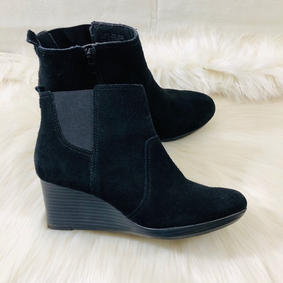 Black Leather Wedge Ankle Boots   Poshmark